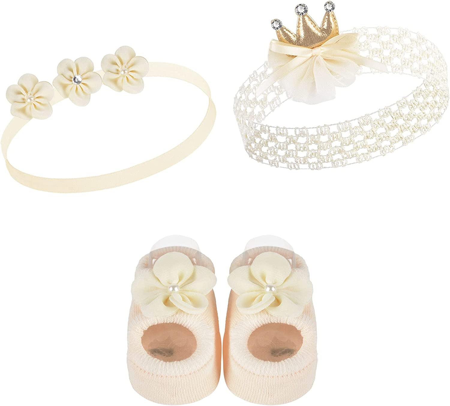 Baby Girl Headbands Socks Shoes Soft Sole Cute Hair Accessories Set for Newborn Baby Infant Toddlers Kids Baptism Christening