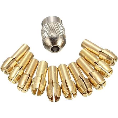 Bomcomi 11PCS / Set Brass Trapano Mandrini a Pinza Bits 0.5-3.2mm Sostituzione 4,3 Millimetri Gambo della Vite Dado per Dremel attrezzo rotativo