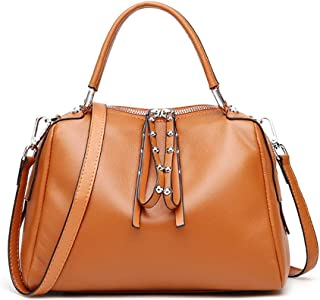 ZXK Simple and Versatile Compact Bills Shoulder Slung Leather Handbags Fashion (Color : Brown)