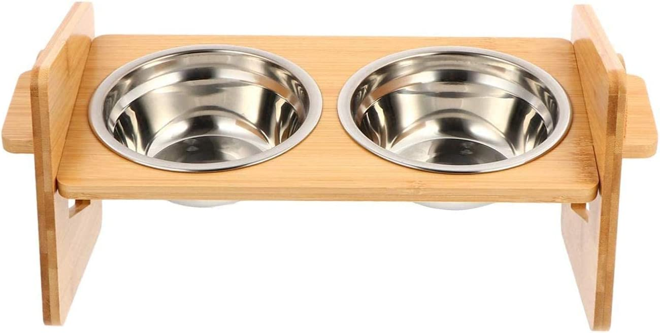 XHJTD A free surprise price is realized Elevated Dog Bowls Cat Double Bow Pet Feeder