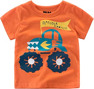 Luzlen Toddler Boys Shirts Dinosaur T-Shirt Cotton Graphic Tshirt Summer Short Sleeve Tees Size 1-8T