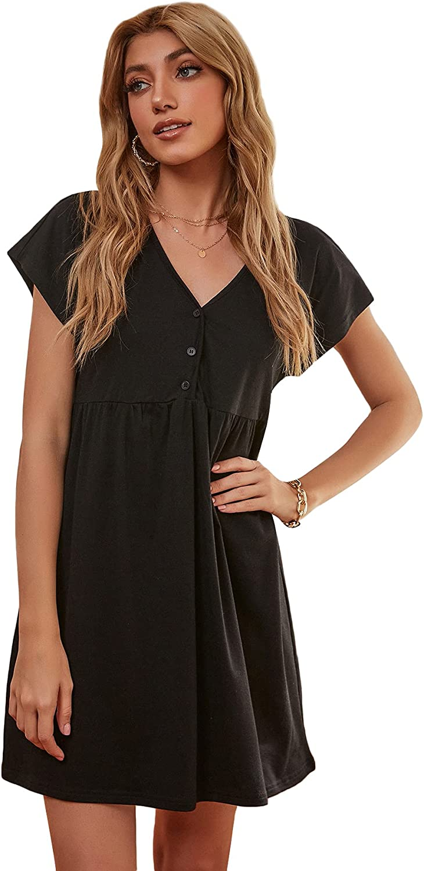 Floerns Women's Casual Button Front Short Sleeve V Neck Short Swing Dress
