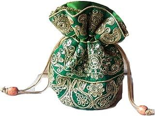 Yashvi Exportz Indian Handmade Traditional Women Zari Embroidered Potli Bag Hangbag Evening Bag Purse Clutch Green