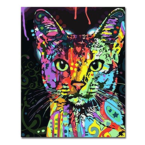 RIHE sans Cadre, Peinture par numéros Peinture à l'huile de Bricolage Coloré Chat Kitty Toile...