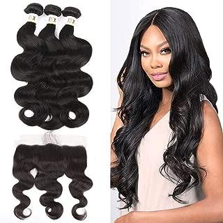 Human Hair Bundles with Lace Frontal,9A Brazilian Virgin Hair Bundles Body Wave 3 Bundles 100% Unprocessed Human Hair Bundles,13x4 Frontal Ear to Ear Closure Body Wave Natural Black 14 16 18+12inch.