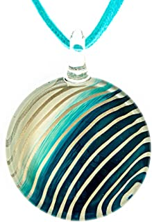 Hand Blown Venetian Murano Glass White Blue Striped Round Pendant Women Necklace, 18-20''