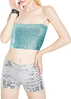 Women Shiny Sequin Crop Top Strapless Tube Top Bandeau for Rave Club Party