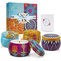 TOFU [100% Natural Velas Aromaticas Juego de 4 Piezas Vela Perfumada 25-30 Horas Duración de la Aromaterapia Decoración para Relajación Fiesta Boda Baño Yoga Cumpleaños Navidad Día de San Valentín