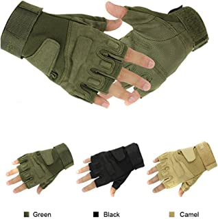 Simpleyourstyle Military Half-finger Fingerless Tactical Airsoft Hunting Riding Cycling Gloves camel-XL