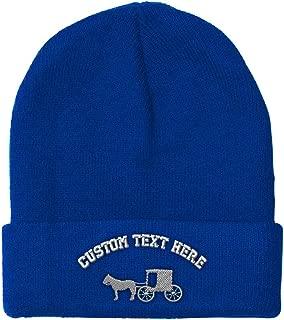 Custom Beanie for Men & Women Amish Buggy B Embroidery Acrylic Skull Cap Hat