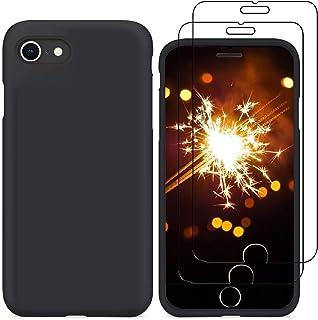 YiKaDa - Funda para iPhone SE 2020 / iPhone 8/7 + [2 Unidades] Cristal Templado Protector de Pantalla, Cáscara Suave de Silicona TPU Líquida Funda Forro de Gamuza de Microfibra Suave Cojín - Negro