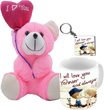 Romantic Gifts, Surprise Printed Mug, Keychain with I Love You Quoted Teddy for Wife Couple Girlfriend Boyfriend Fiancé On Va