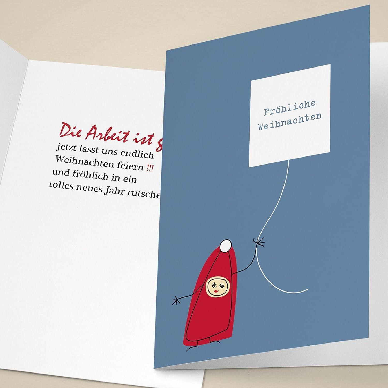20er Set Edle Designer Unternehmen Weihnachtskarten mit süßem Wichtel, mit ihrem Innentext (Var2) drucken lassen, als Weihnachtsgrüße geschäftlich   Neujahrs Glückwunsch   Weihnachtskarte für Firmenkunden, Geschäf