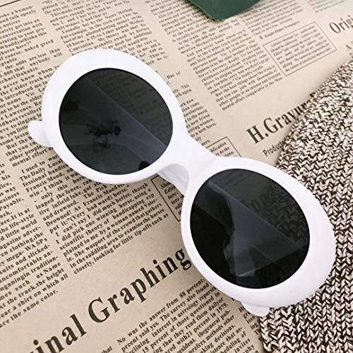 Gafas de sol de las señoras de los hombres de moda oval retro blanco protección anti-UV UV400 para viajes al aire libre y conducción