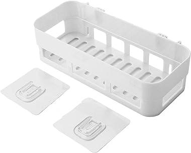 JEEJEX Plastic Inter Design Bathroom Kitchen Organize Shelf Rack Shower Corner Caddy Basket with Sticker No Drilling Required