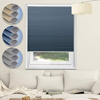 Honeycomb Blinds Cellular Shades Window Blinds and Shades Blackout Blinds Fabric Blinds for Home and Office, Blue-White, 39x64