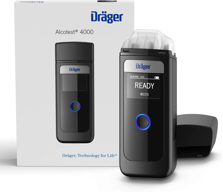 Dräger Alcotest 4000 | Alcoholímetro Digital Profesional confiable| Probador portátil de Alcohol multilingüe y Recargable | Medidor Oficial de policía