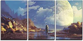 wall26 - 3 Piece Canvas Wall Art - Scenery of Lonely Woman Looking at Another Earth,Illustration Painting - Modern Home Decor Stretched and Framed Ready to Hang - 24
