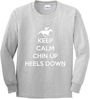 ThisWear Keep Calm Chin Heels Down Horseback Riding Gear Youth Long Sleeve T-Shirt