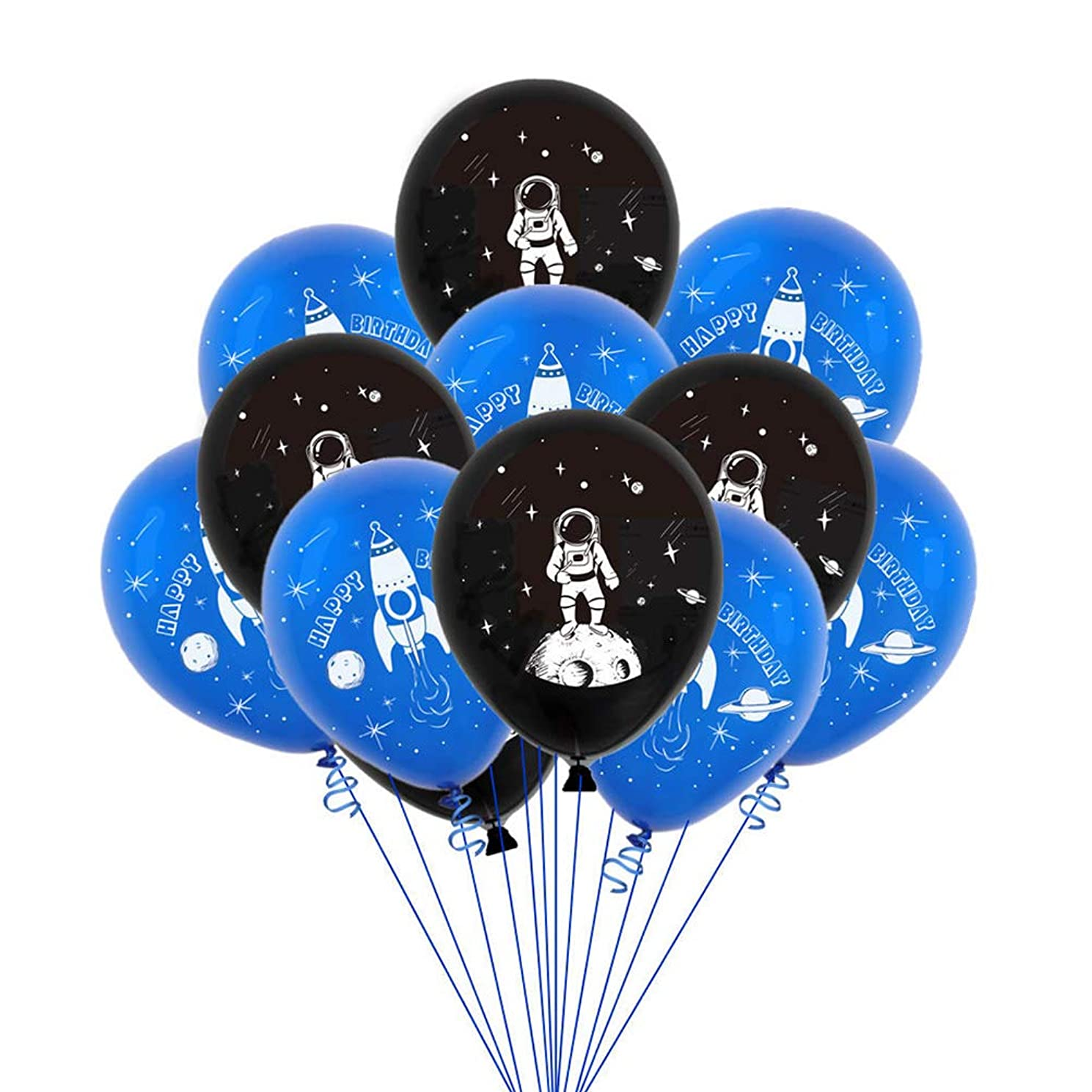Amosfun 20pcs Party Balloons Astronaut Space Rocket Printing Latex Balloons Party Balloons Inflatables Balloons for Baby Shower Kid's Birthday Party Decorations 12 Inch