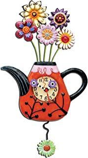 Enesco P9014 Wall Clock Teapot Red 42 cm with Flowers Resin