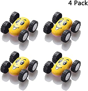 Finduat 4 Pack Pull Back Cars, Inertial Double-sided Dump Cars, Novelty Emoji Friction Cars, Automatic Flip Tricky Stunt Cars, Double Sided Emoji Toys Cars, Inertial Car Toy For Party Favors