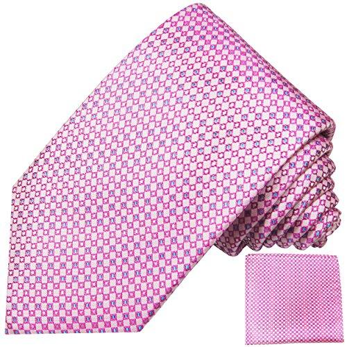 Pinkes Krawatten Set 2tlg kariert Hochzeit Seidenkrawatte + Einstecktuch Paul Malone