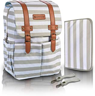 SavvyMami Striped Bag Backpack for Mom - Large Tan and White Striped Baby Diaper Bag Backpack For Mom - Travel Diaper Bag with Changing Pad and Wipes Case and Stroller Straps for Women Baby Bag