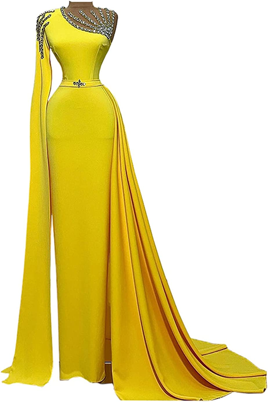 Keting Yellow Satin Crystals Mermaid Prom Evening Shower Party Dress Celebrity Pageant Gown