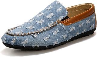 [QIFENGDIANZI] 靴 メンズ ドライビングシューズ カジュアルシューズ ローファー スリッポン モカシン デッキシューズ ビジネスシューズ お洒落 身長アップ 軽量 通気性 アウトドア ローカット 通勤 通学 ブルー ネイビー