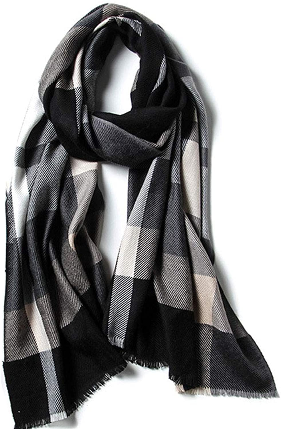 HUIFANG Autumn and Winter New Wool Thin Scarf Men and Women Couple Black and White Plaid Red Lattice Business Wild to Keep Warm 55  195CM A (color   Black, Size   55  195CM)