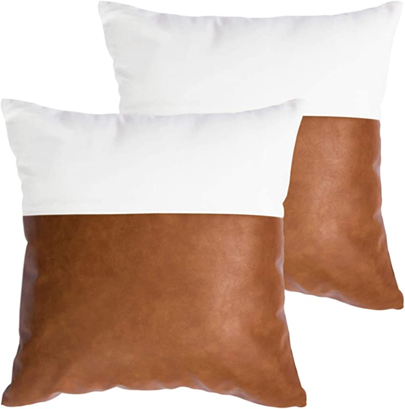 HOMFINER Faux Leather And 100 Cotton Throw Pillow Covers For Couch Modern Design Decorative Bed Sofa Or Bedroom Pillows Case 18 X 18 Inch Set Of 2