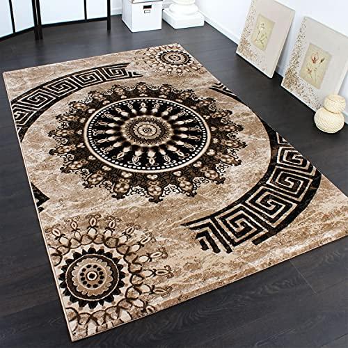Paco Home Alfombra Clásica con Ornamentos Circulares Estampada En Marrón-Beis-Negro Moteado, tamaño:160x230 cm