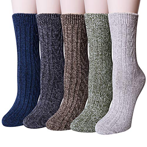 YSense 5 Paar Wollsocken Stricksocken Winter Damensocken Thermosocken Socken MEHRWEG
