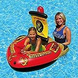 Maliyaw Anillo Flotante Inflable de la natación del Barco del Pirata del Juguete del Flotador de la Piscina con la Bomba de pie para los niños Juguete del Agua del Flotador de la Cama del Flotador