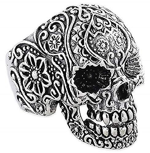 Lovelegis - Anillo de hombre con calavera y cabeza de muerto, gótico, punk, flores, color plateado, talla IT 26, idea regalo