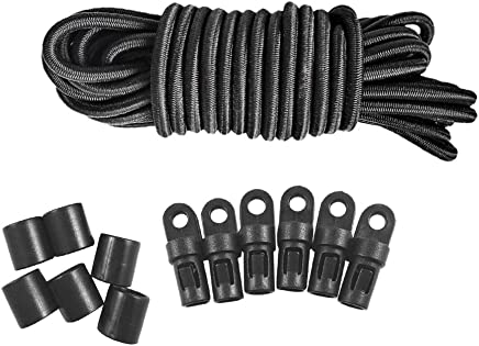 MagiDeal Marine Kayak Boat 10m x 4mm Black Shock Cord Rope Tie Down Stretch 6Pcs End Hooks Fishing Rigging Hardware Accessories