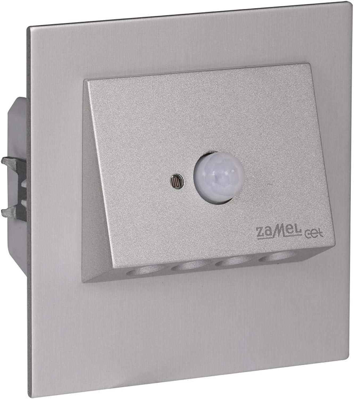 LED Wand & Treppenbeleuchtung 230V 1,4W mod. NAVI Warm wei Aluminium mit Bewegungsmelder