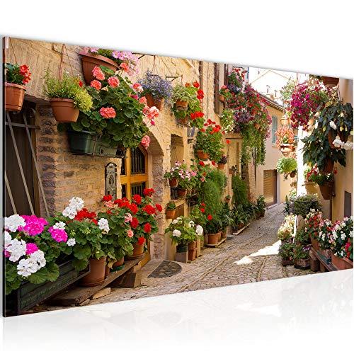 Bilder Mediterran Italien Wandbild 100 x 40 cm Vlies - Leinwand Bild XXL Format Wandbilder Wohnzimmer Wohnung Deko Kunstdrucke Braun 1 Teilig - MADE IN GERMANY - Fertig zum Aufhängen 024712a