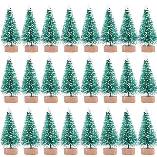 24 Pieces Artificial Mini Christmas Sisal Snow Frost Trees with Wood Base Bottle Brush Trees Plastic Winter Snow Ornaments Tabletop Trees for Christmas Party Home Decoration (Green)