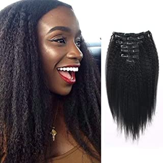 Lovrio Kinky Straight Hair Clip in Hair Extensions for Black Women Brazilian Virgin Double Weft Human Hair 7 Pieces 120g with 17 Clips 10 Inch
