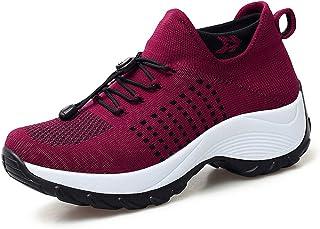 Chaussures de Course pour Femmes Basket Mode Chaussures Légère Antidérapant Mesh Talon Haut Chaussure Compensée Outdoor Fi...