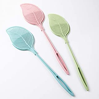 YXTHON Plastic Fly Swatter Cute Thick Long Handle Mosquito Killer Home Fly Swatter with Dust Pan - Heavy Duty - Plastic - Colorful 3 Pack 3-in-1 Fly Swatter, Sweeper, and Scooper