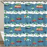 FOURFOOL Cortinas de Ducha,Coches y árboles de Navidad en la Carretera Nevada,Impermeable Cortinas Baño y Lavables Cortinas Bañera 180x180CM