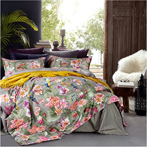 Eikei Vintage Botanical Flower Print Bedding 400tc Cotton Sateen Romantic Floral Scarf Duvet Cover 3pc Set Colorful Antique Drawing of Summer Lilies Daisy Blossoms (Queen, Taupe)
