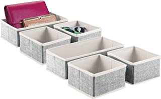 mDesign Juego de 6 organizadores de cajones – Cestas de Tela en 2 tamaños para el Dormitorio – Cajas organizadoras de Fibra sintética con un diseño Atractivo – Negro/Crema