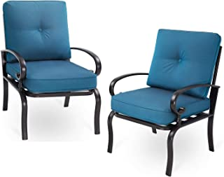 SOLAURA Patio Outdoor Furniture Bistro Patio Set Dining Chair 2 Additional Single Chairs Wrought Iron Frame Peacock Blue Cushions