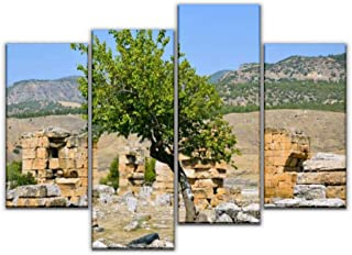 4 Panel Canvas Pictures a lonely tree against the of the ruins of the ancient city of Home Decor Gifts Canvas Wall Art for...