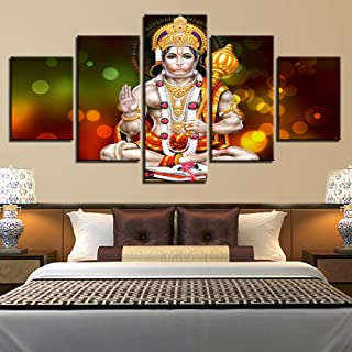 Fbhfbh Home Decor HD Printed Wall Art Pictures 5 Pieces Lord Hanuman Canvas Painting for Living Room Modular Hindu God Poster Framework-16x24/32/40inch,Without Frame