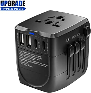 Travel Adapter, 2400W International Power Adapter,1 Type-C PD 3.0 & 1 Smart Type-C & 2 USB All in One Power Plug Adapter for High Power Appliances for UK, EU, AU, US, Over 200 Countries (Black)